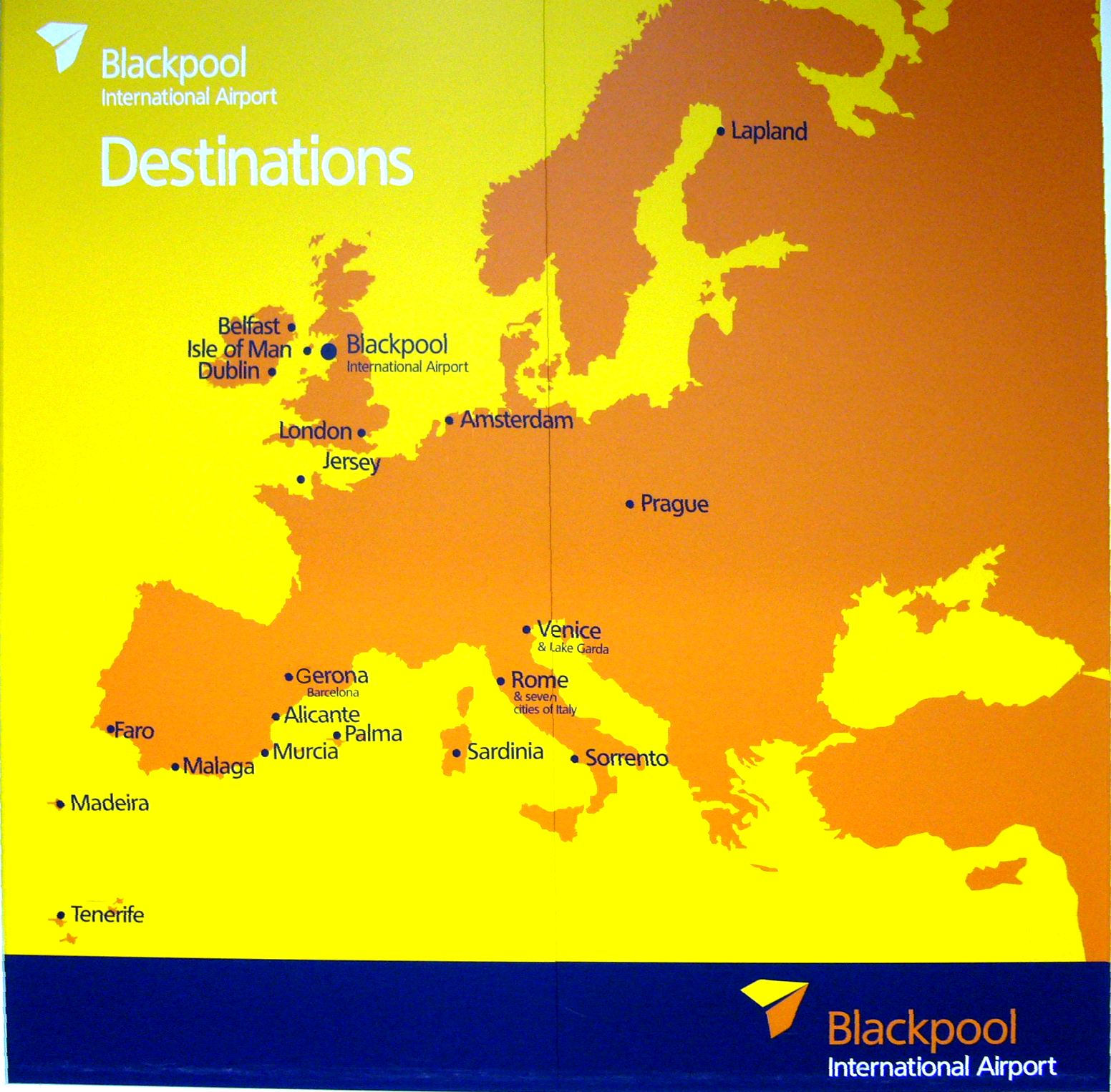 Destinations board at Blackpool Airport